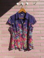 M&S PER UNA Ladies Floral Purple Pink Blue Flowers Blouse Size 14 Summer Blouse