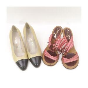 Chanel Leather Pumps Sandals 2 pieces set 523695