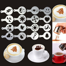 Chocolate Shaker Duster Stainless Steel & 16X Cappuccino Coffee Barista Stencils