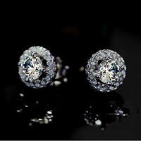 Fashion Women Crown 925 Sterling Silver Crystal Rhinestone Ear Stud Earrings