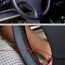 Universal 37-38cm/15'' Car Steering Wheel Cover Genuine Leather w/Needle Thread