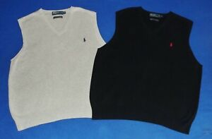 Nice Lot 2 Mens POLO RALPH LAUREN PIMA COTTON V-Neck Golf Sweater Vests XL