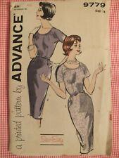 Amazing VTG 60s ADVANCE 9779 Misses Dress in 2 Versions PATTERN 14/34B