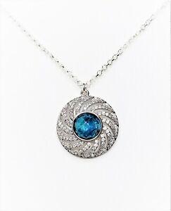 Blue Apatite Pendant Sterling Silver Chain Natural Stone Women Birthday Gift Box