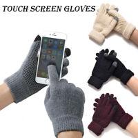 Touch Screen Gloves Women Men Warm Winter Stretch Knit Mittens Finger Guantes A