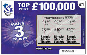 Simple Minds Tickets as Prize / Gift - Surprise Scratch Card Personalised
