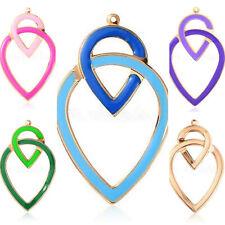 XXL- Anhänger Emaille groß blau grün lila Diamant gold oval für Kette & Ohrringe