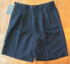 Hagar Mens Cool-18 Quick Dry Pleated Front Shorts - Black Waist Size 32
