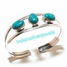 Turquoise Bracelet Cufflinks 925 Silver Plated Bangle Cuff Handmade Cuff