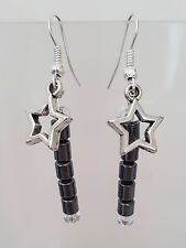 Hematite Gemstone & Silver Star Charm Drop Earrings - NEW!