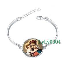 MADONNA and Child glass cabochon Tibet silver bangle bracelets wholesale