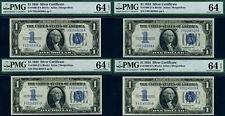 FR. 1606 $1 1934 Silver Certificate F-A Block - 4 Note Lot - Choice PMG CU64