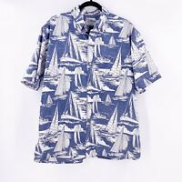 Vintage Reyn Spooner Hawaiian Shirt Large Sailboats Spooner Kloth Non Wrinkle