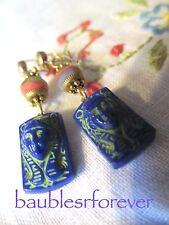 Vintage Art Deco Egyptian Revival Czech Glass LAPIS BLUE  Stone Pierced Earrings