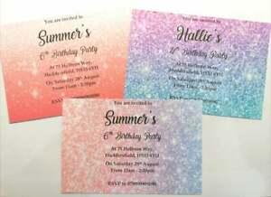 NEW Girls personalised glitter birthday party invitation coral pink purple blue