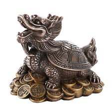 # New Cold Cast Polished Bronze Figurine Lucky Money Turtle Statue Feng Shui