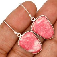 Pink Thulite - Norway 925 Sterling Silver Earrings Jewelry AE130157 XGB