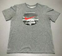 NIKE Basketball Court Red Swoosh Gray Short Sleeve Dri-Fit T-Shirt Adult Size L