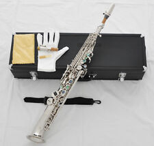 Professional Silver Soprano Saxello saxophone Curved Bell sax ABALONE High F# G