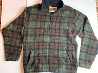 Vintage Men's L AMERICAN EAGLE  FLEECE LINED FULL ZIP Green Brown Plaid USA Made
