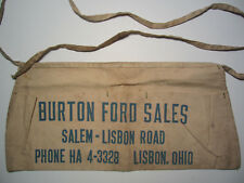 1950's BURTON FORD SALES  Canvas Pocket Work Apron - Salem - Lisbon Rd Ohio OH