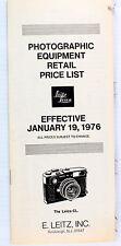 Original Leitz Ny Price List for Leica Photographic Equipment - Jan. 19, 1976