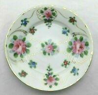 """Vintage Japan Hand Painted Porcelain Plate Pink Roses, Blue Red Floral Gilded 6"""""""