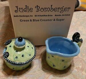 Judie Bomberger Whimsical Green  & Blue Creamer & Lidded Sugar Bowl