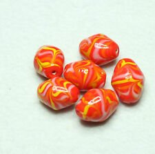 8 INDIAN LAMPWORK GLASS BEADS 12x15mm OVAL ORANGE/MULT I(BBB639)