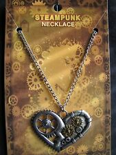 "Valentines Steampunk Goth Heart Pendant with 22"" Necklace"