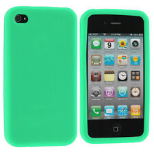 Mint Green Silicone Rubber Soft Gel Skin Case Cover for Apple iPhone 4S 4G 4