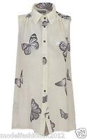 Ladies Chiffon Summer Blouse Sleeveless Butterfly Womens Button Top Vest Shirt