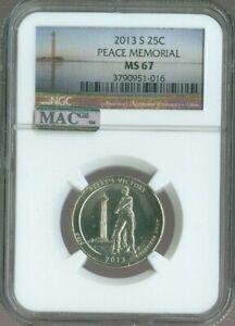 2013 S Peace Memorial National Parks Quarter NGC MS 67 MAC Quality ✔️