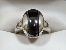 Very Nice Modernist Sterling Silver 925 Hematite Ring Sz 9.25 (10.31g)