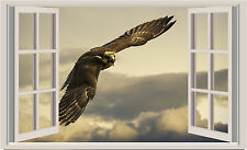 Flying Eagle Window View Repositionable Color Wall Sticker Wall Mural 3 FT