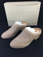 Me Too Zara Nubuck Leather Mules Laser Cut Out Womens 7.5 M Stacked Heel Mink