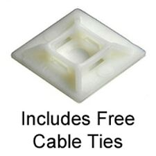 25 Self Adhesive Cable Tie Base Mounts, Natural, 19mm by 19mm FREE cable Ties