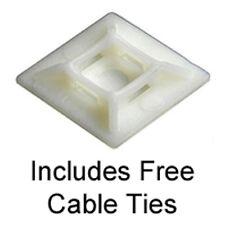 25 Soportes de base Auto Adhesivo Cable Tie, natural, 19mm por 19mm libre de ataduras de cables