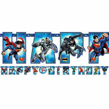 JUSTICE LEAGUE Birthday Party Boys JUMBO Add An Age Letter Banner 10 ft long