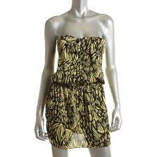 Victoria's Secret Moda ~ Yellow Satin Tropical Blouson Party Dress 14 NEW $79