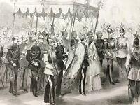 Russian Royalty Antique Print Tsar Alexander II Romanov Royal Procession 1856