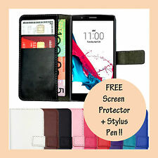 Premium Leather Flip Case Card Wallet PU Magnetic Stand Cover For LG G4 G3