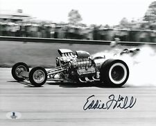 EDDIE HILL SIGNED AUTOGRAPHED 8x10 PHOTO DRAG RACING LEGEND RARE BECKETT BAS