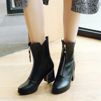 Women's Zip Block High Heels Round Toe Ankle Boots Fashion Autumn Solid Shoes Sz