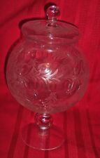 """ANTIQUE CLEAR GLASS ETCHED GRAPE AND VINE AND OLIVE DESIGN 10 """"  APOTHECARY JAR"""