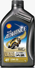 Shell Advance Ultra 4T 15W50 Full Synthetic Motorcycle Oil 4Liter+ Filter & Was