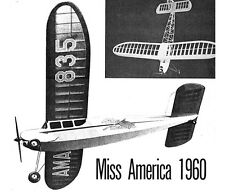 "Model Airplane Plans (FF-RC): Miss America 42"" for .020-.049 by Joe Wagner"