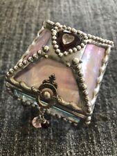 Keepsake Treasure Box w Heart Leaded Glass & Mirrors Swarovski Artist Signed