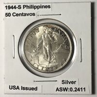 1944 S PHILIPPINES - FIFTY Centavos United States of America Issued Silver Coin