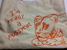 Vintage 1980s I'm Really A Pussycat Lion Tote Bag Cat Reusable 2 Sided
